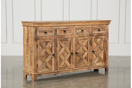 Mango Wood Tan Finish 4-Door Sideboard