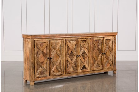 Mango Wood Tan Finish 6-Door Sideboard