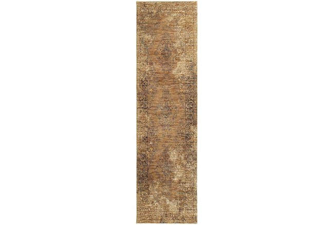 27X96 Rug-Adarra Moroccan Faded Gold - 360