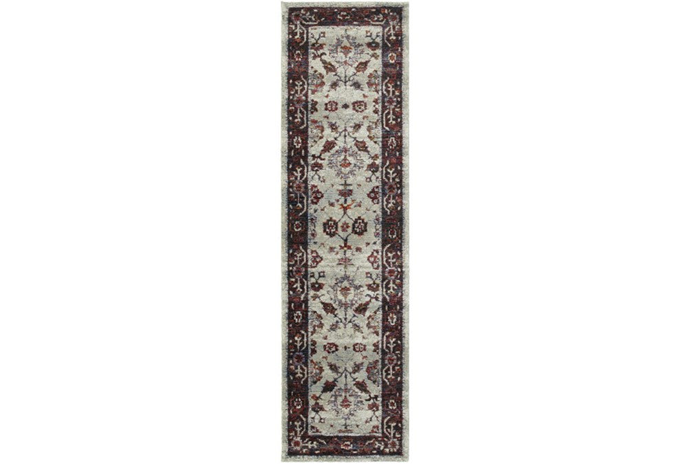 """2'3""""x8' Rug-Mariam Moroccan Stone/Red"""