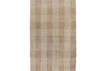 60X96 Rug-Natural Plaid Jute