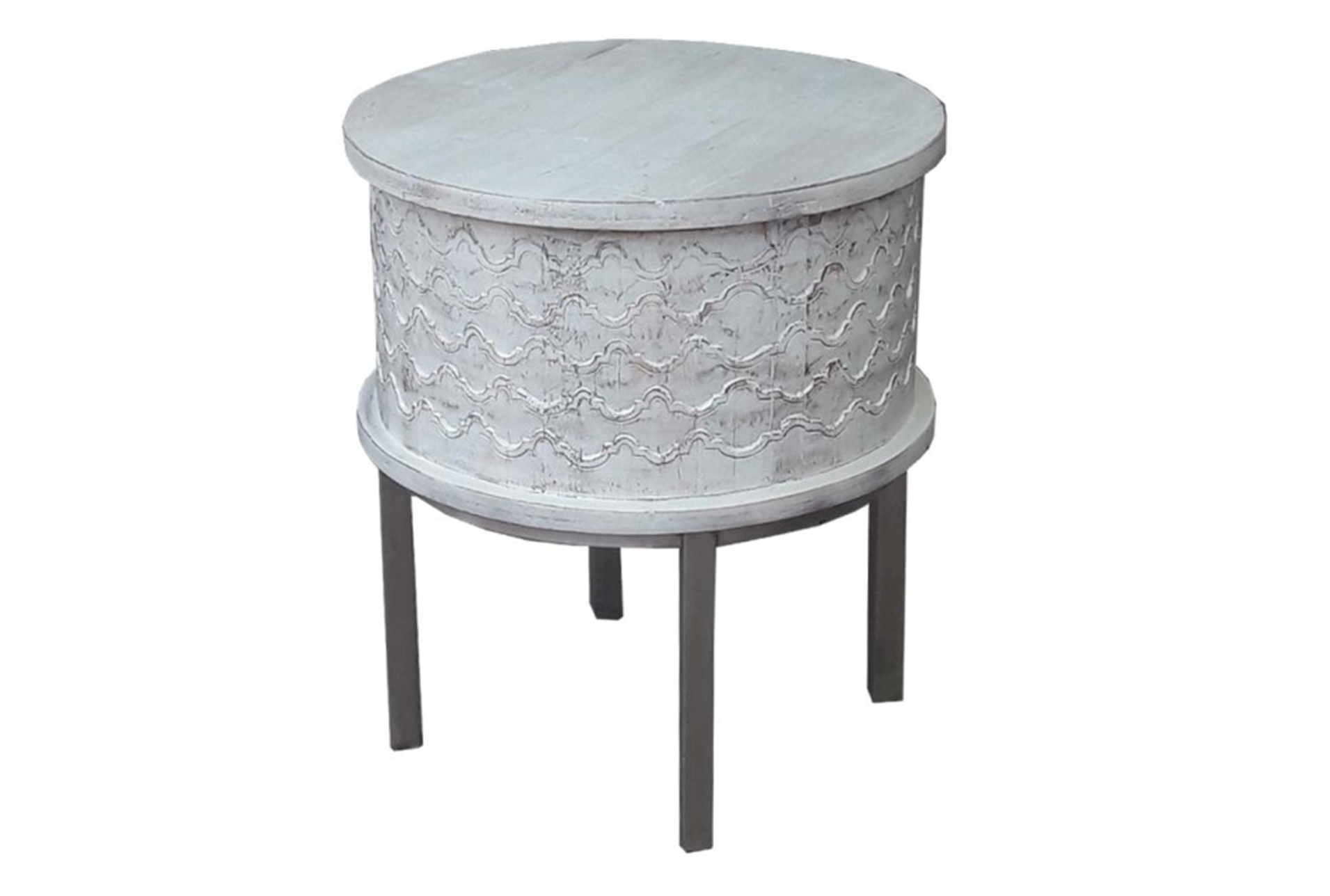 Antique White End Table   360 Elements