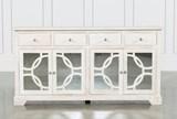 Mango Wood Grey 4-Drawer/4-Door Sideboard - Left