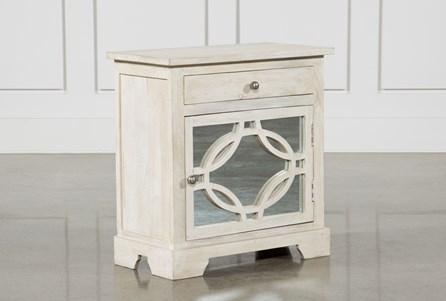 Mango Wood Grey 1-Drawer/1-Door Cabinet