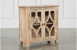 Mango Wood Grey 2-Door Cabinet