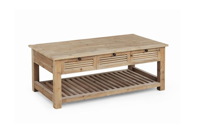Natural 2-Drawer Shutter Coffee Table - 360