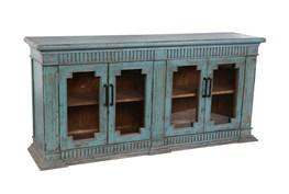 Reclaimed Pine Turquoise 4-Door Sideboard