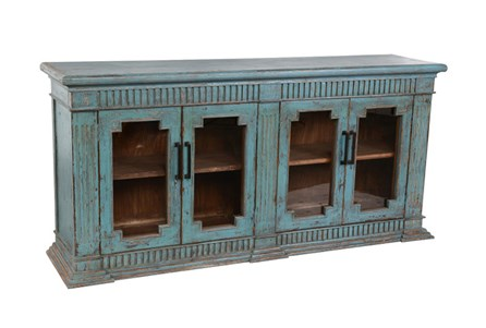 Reclaimed Pine Turquoise 4-Door Sideboard