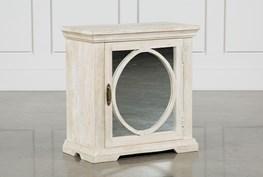 Grey Mango Wood 1-Door Mirrored Cabinet