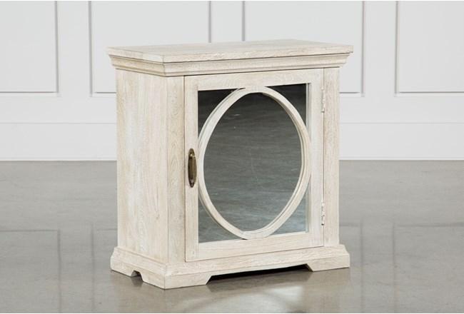 Grey Mango Wood 1-Door Mirrored Cabinet - 360