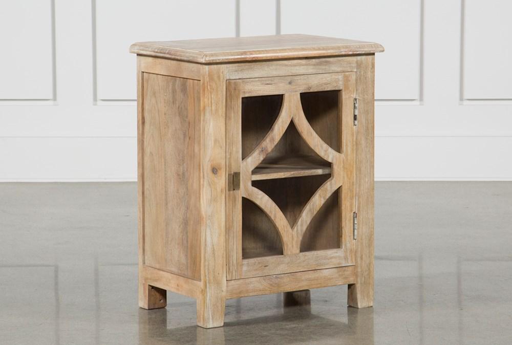 Grey Mango Wood 1-Door Glass Cabinet