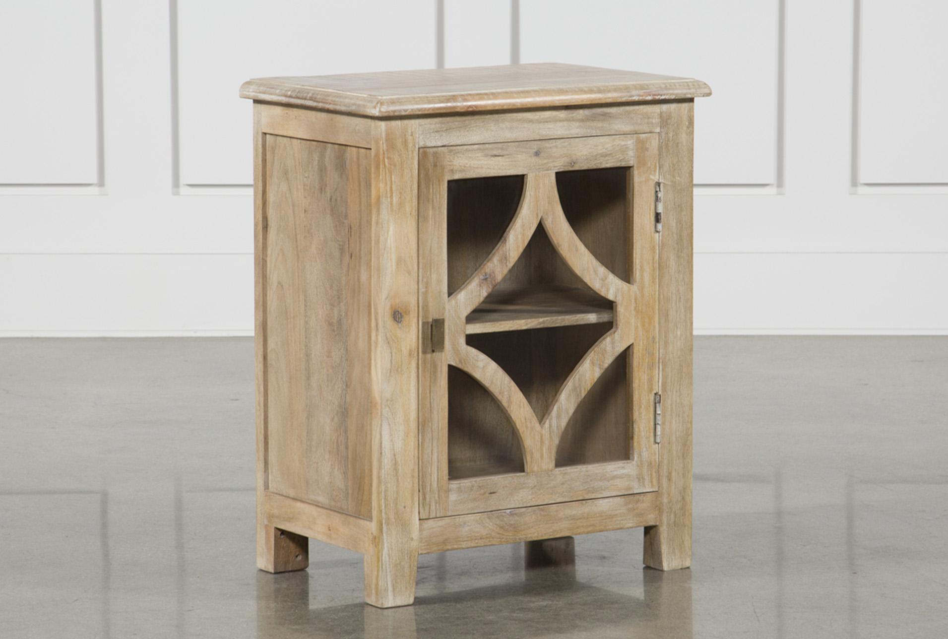 Grey Mango Wood 1 Door Glass Cabinet   360 Elements