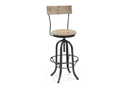 Natural Wood/Iron Stool W/Black