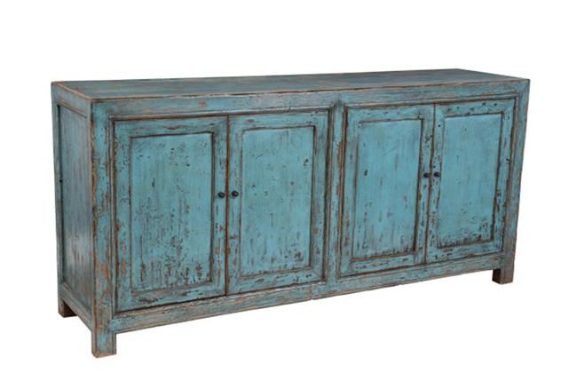 Reclaimed Pine Turquoise 4-Door Buffet - 360