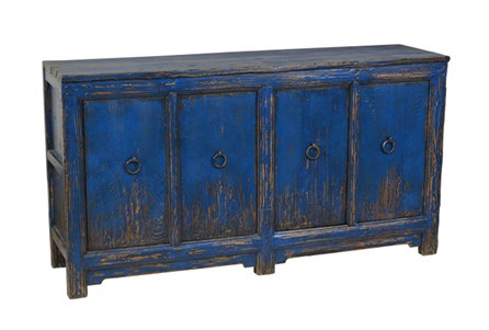 Blue Reclaimed Pine 4-Door Buffet