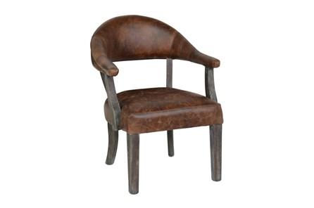 Poplar Wood Chestnut Leather Arm Chair - Main