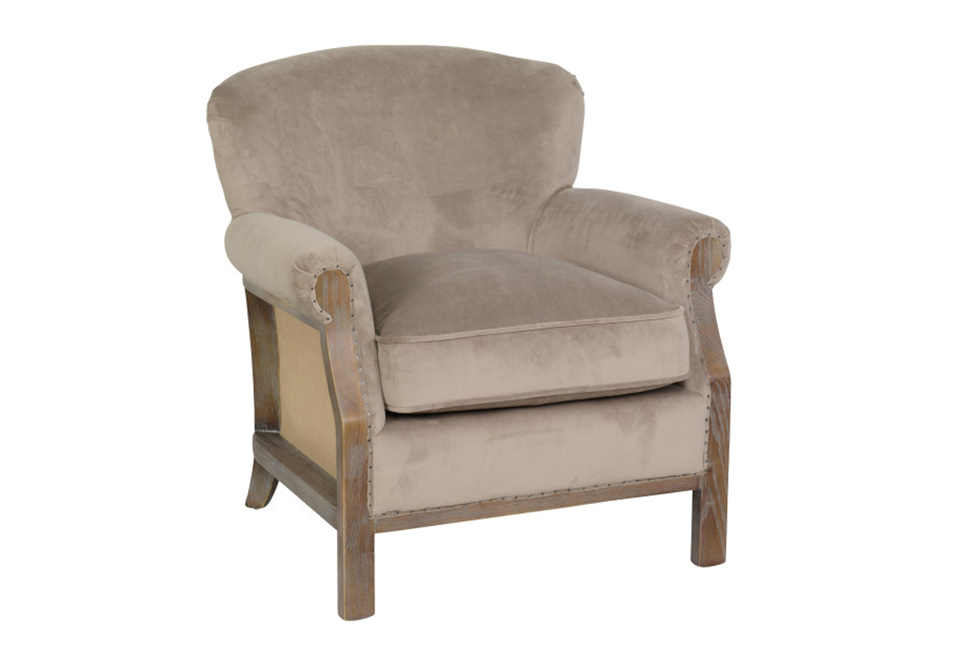 Merveilleux Poplar Wood Taupe Linen Club Chair   360
