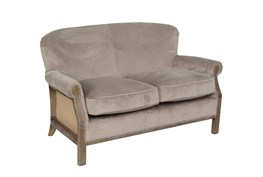 Poplar Wood Taupe Linen Loveseat