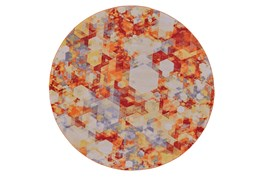 96 Inch Round Rug-Pixel Orange/Multi