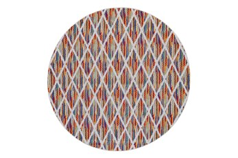 96 Inch Round Rug-Diamond Pixel Shower Orange/Multi