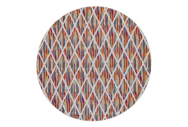 96 Inch Round Rug-Diamond Pixel Shower Orange/Multi - 360