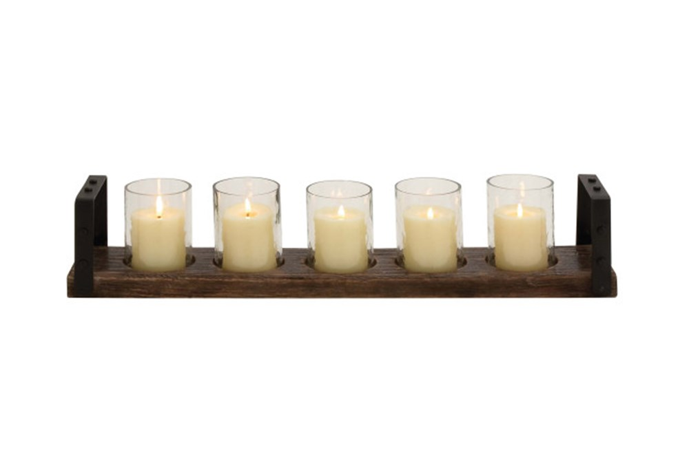 Wood Metal Glass Candleholder