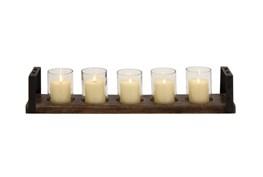 Wood Metal Glass Candleholder