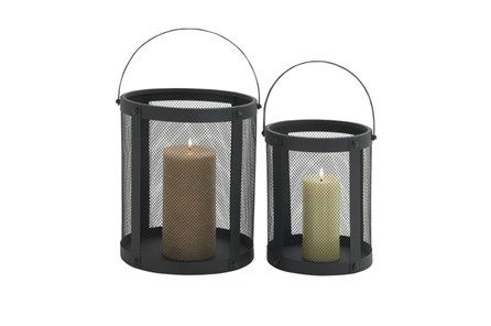 2 Piece Set Metal Candle Lanterns