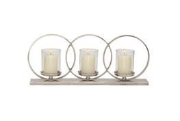 Aluminum Glass 3-Circle Candleholder