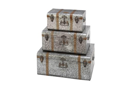 3 Piece Set Galvn Metal Trunks