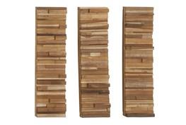 3 Piece Set Wood Block Wall Panels