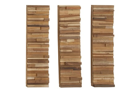 3 Piece Set Wood Block Wall Panels