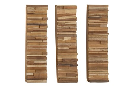 3 Piece Set Wood Block Wall Panels - Main
