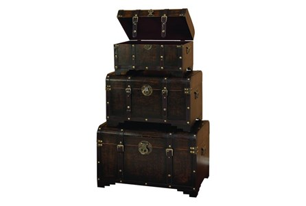 3 Piece Set Wood Leather Trunks