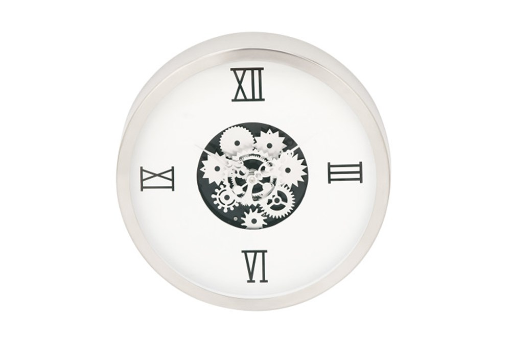 Steel White Gear Wall Clock