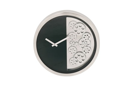 Steel Black Half Gear Wall Clock