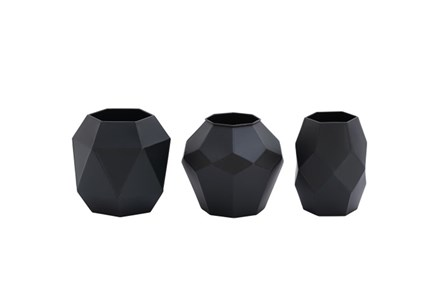 3 Piece Set Black Prizm Vases
