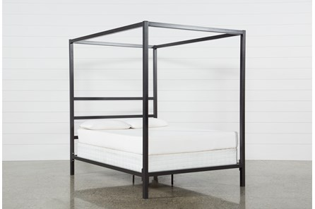 Orson Graphite Eastern King Metal Canopy Bed Living Spaces