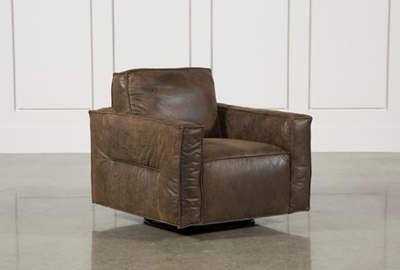 Espresso Leather Swivel Chair