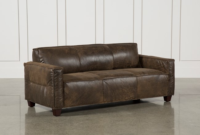 Espresso Leather Sofa - 360
