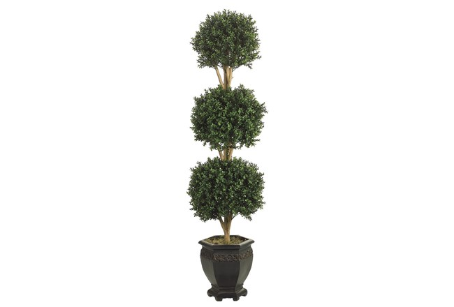 Garden-Tri Ball Boxwood Topiary - 360