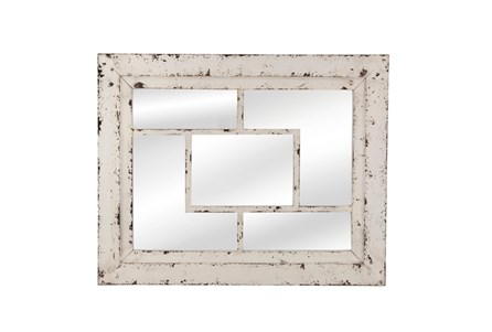 Mirror- White Wash Squares 32X40