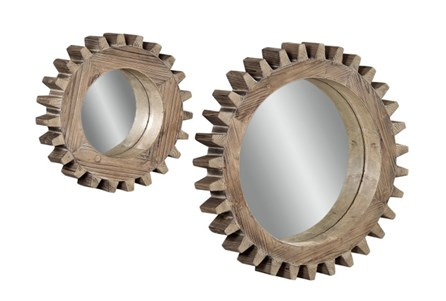 Mirror-2 Piece Set Wooden Gears 16X16