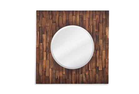 Mirror-Distressed Wood Square 24X24
