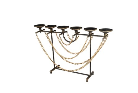 Gold Chain And Metal Candleholder