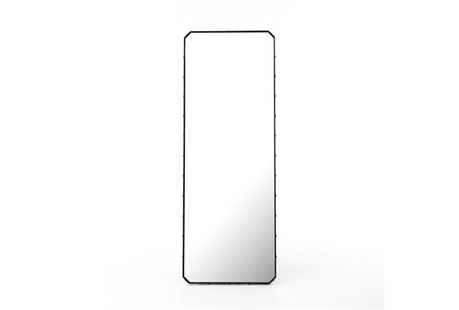 Black Glass Floor Mirror - 360