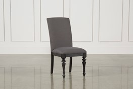 Caira Black Upholstered Side Chair