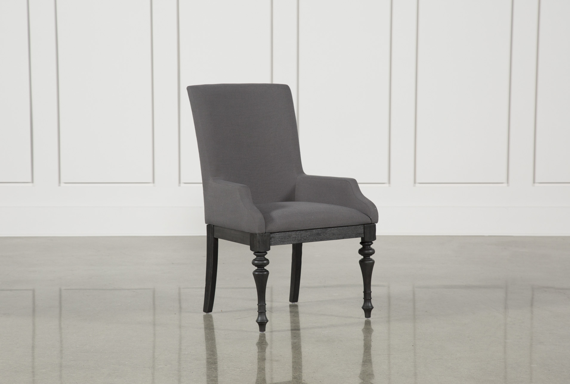 Caira Black Upholstered Arm Chair   360