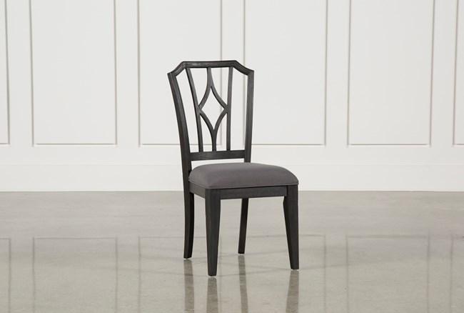 Caira Black Upholstered Diamond Back Side Chair - 360