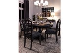 Caira Black Upholstered Diamond Back Side Chair - Room